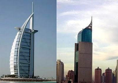 Burj Al Arab, Dubai, Uni Emirat Arab dengan Wisma BNI 46, Jakarta