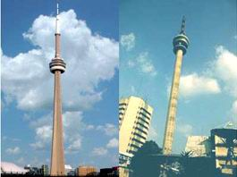 CN Tower Toronto, Canada dengan menara TVRI, Jakarta
