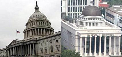 Gedung Capitol Hill (gedung parlemen AS), Amerika Serikat dengan gedung Mahkamah Kontitusi, Jakarta