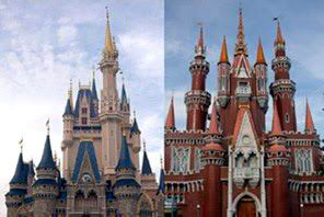 Istana Cinderella Disney World  Florida, Amerika Serikat dengan Istana anak-anak TMII, Jakarta