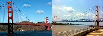 Jembatan Golden Gate San Francisco, Amerika Serikat dengan Jembatan Kutai Kartanegara, Kalimantan Timur