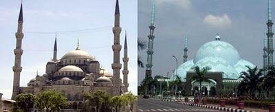 Masjid Sultan Ahmed (Masjid Biru) Istanbul, Turki dengan Masjid Raya Al-Ahzom Tangerang, Banten