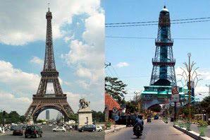 Menara Eiffel, Perancis dengan Menara Keagungan Limboto,  Gorontalo