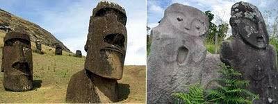 Patung di Rapa Nui (easter island), Chili dengan Patung Megalith Lore Lindu, Sulawesi Tengah