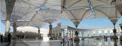 Pelataran Mesjid Nabawi Medinah,  Arab Saudi dengan Pelataran Mesjid Agung Jawa Tengah