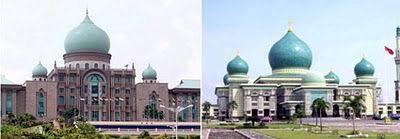 Perdana Putra, Putrajaya, Malaysia dengan Masjid Agung An-Nur, Riau