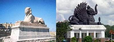 Sphinx Alexanderia, Mesir dengan Patung Lembuswana di Pulau Kumala, Kalimantan Timur